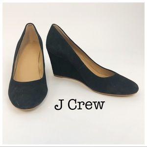 J Crew Black Suede Wedge Heels Size 8